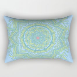 Blue and Green Flower Mandala Rectangular Pillow