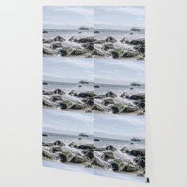 Pacific Pier | Malibu Ocean Scene Waves Tide Beach Washed Out Wallpaper