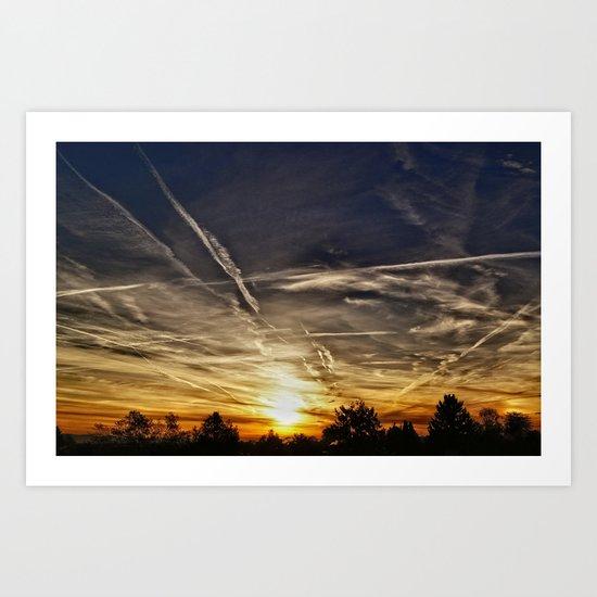 Unique cloud picture sunset Art Print