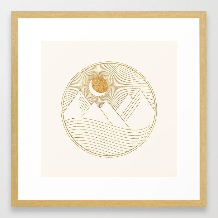 Golden Sunset Landscape with Mountains Framed Art Print