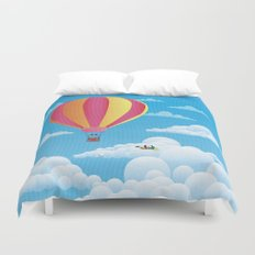 Picnic in a Balloon on a Cloud Duvet Cover