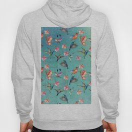 Vintage Watercolor hummingbirds and fuchsia flowers Hoody