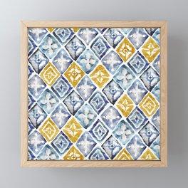 Blue and Gold Tribal Tiles Framed Mini Art Print