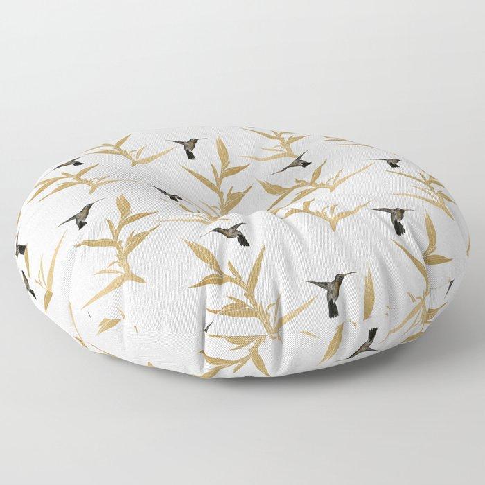 Hummingbird & Flower II Floor Pillow