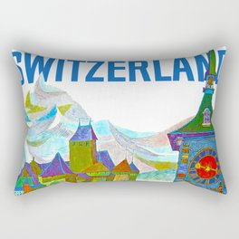 Vintage Switzerland Landmarks Travel Rectangular Pillow
