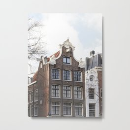 Architecture In Amsterdam Photo   Dutch Baroque Canal House Art Print   Europe Travel Photography Metal Print
