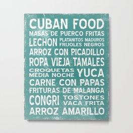 Cuban Food Word Art Poster (Teal) Metal Print