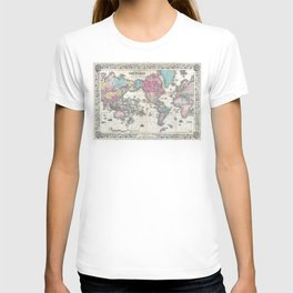 1852 J.H. Colton Map of the World T-shirt