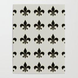Fleur de lis.... ivory,gold and black Poster