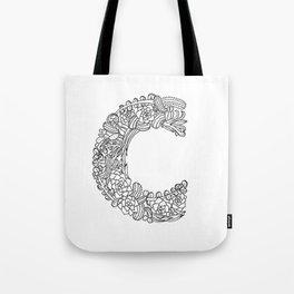 Floral Type - Letter C Tote Bag
