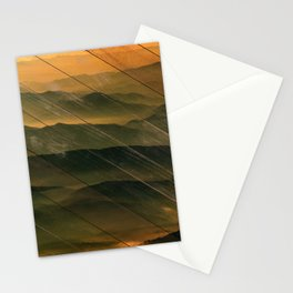 Faux Wood Foggy Mountain Layers at Sunset Rural Landscape Photography Stationery Cards