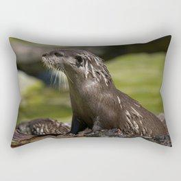 Otter Emerging From The Water Rectangular Pillow