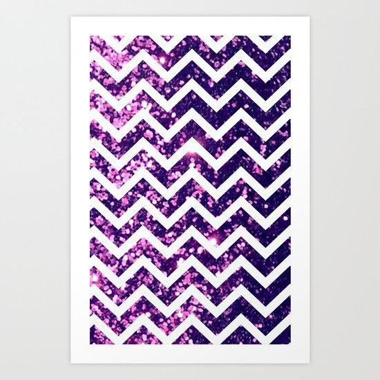 Purple Blur Sparkle Chevron Art Print