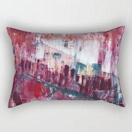 Sunset in the Valley: a colorful abstract piece in reds, pink, gold, gray, and white Rectangular Pillow