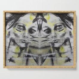 Think, beautiful woman portrait, sketch, pastels, original art by Luna Smith, LuArt Gallery Serving Tray
