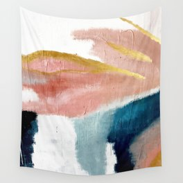 Exhale: a pretty, minimal, acrylic piece in pinks, blues, and gold Wall Tapestry