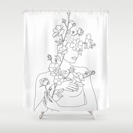 Minimal Line Art Woman with Wild Roses Shower Curtain