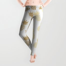 Gold Pineapple Pattern Leggings