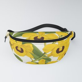 Vintage Yellow Leafy Orchids Lindenia Collection Fanny Pack