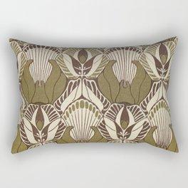 Art nouveau, neutral color pattern, floral design Rectangular Pillow