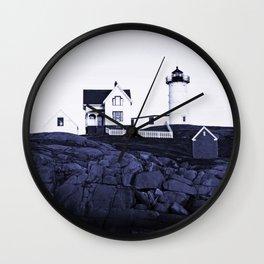 Navy Blue Maine Lighthouse Wall Clock