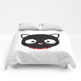 Cute black cat with red collar Comforters