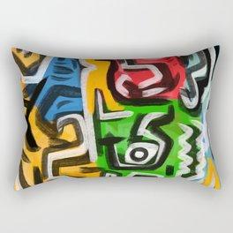 Primitive street art abstract Rectangular Pillow