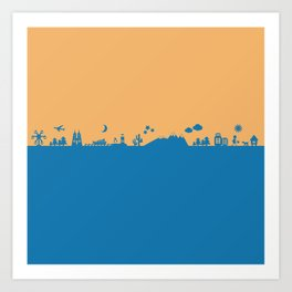 Find Your Angle_Travel_biColor_Tangerine&Blue Art Print