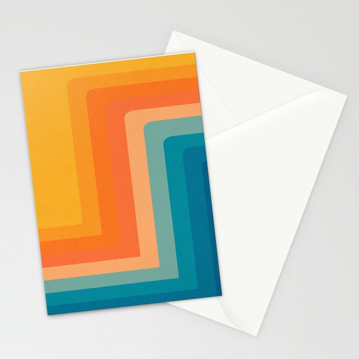 Retro 70s Color Lines Stationery Cards
