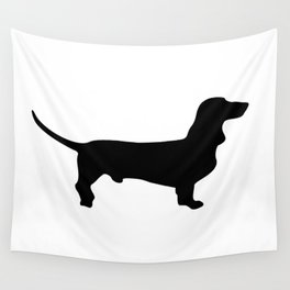 Dachshund Silhouette Black and White Pattern Wall Tapestry
