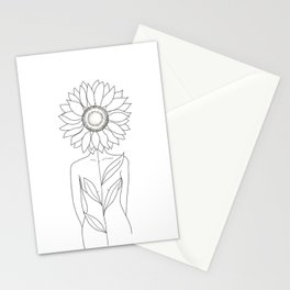 Minimalistic Line Art of Woman with Sunflower Stationery Cards