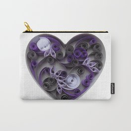 Purple Grey Love Heart Paper Quilled Colorful Heart Wedding Anniversary Gift Carry-All Pouch