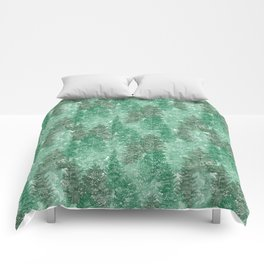 Green Summer Conifer Forest Watercolor Pattern Comforters