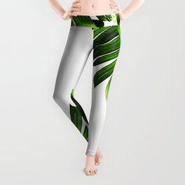 Green banana leaf Leggings