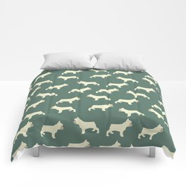 French Bull Dog in Hunter Green Comforters