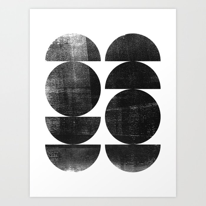 Black and White Mid Century Modern Circles Abstract Art Print
