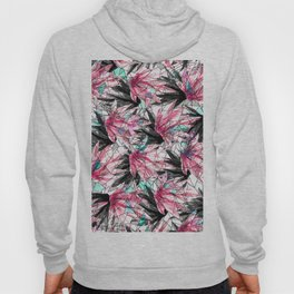 Abstract Pink Teal Leaves and Geometric Triangles Hoody