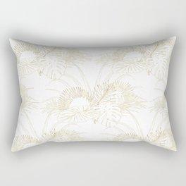 Elegant tropical leaves golden strokes design Rectangular Pillow