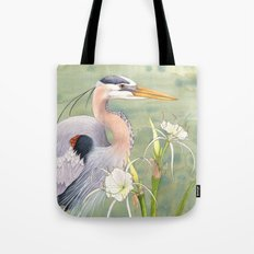 Great Blue Heron and Spider Lilies Tote Bag