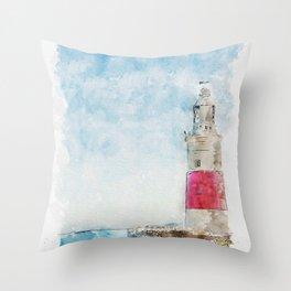 Aquarelle sketch art. Lighthouse in Gibraltar, blue sky and sea Throw Pillow