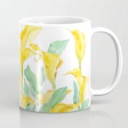 yellow calla lily branch watercolor Coffee Mug