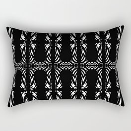 Feathered Black and White Tribal Pattern Rectangular Pillow