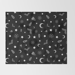 goth occult pattern Throw Blanket