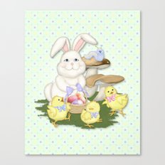 White Rabbit and Easter Friends Canvas Print