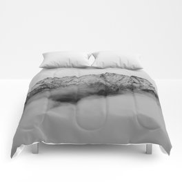 Mountains (Black and White) Comforters