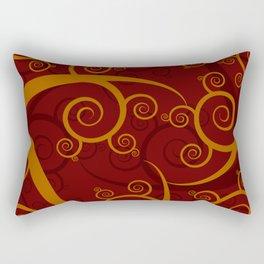 Red Swirl Pattern Rectangular Pillow