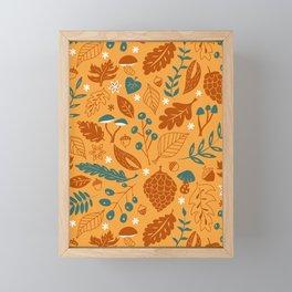 Fall Foliage in Yellow, Terracotta, and Blue Framed Mini Art Print