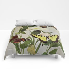 Vintage Butterflies in Nature Illustration (1899) Comforters