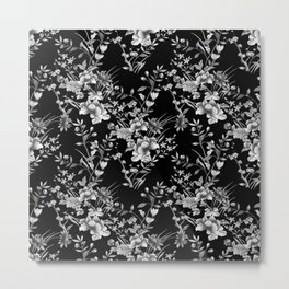 Chinoiserie Flowers Black and White Metal Print