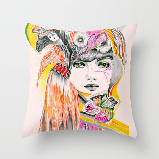 Pink Leaves Throw Pillow